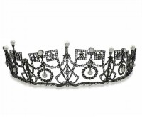 Bridal Headpieces Natural Certified Diamond Pearl 17.8 Ct Sterling Silver Brithday Tiara
