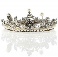 Princess Tiaras And Crowns Natural Certified Diamond Pearl 7.75 Ct Sterling Silver Diamond Crown