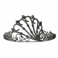 Tiara For Sale Natural Certified Diamond Black Stone 21.35 Ct Sterling Silver Bridal Hair Accessories