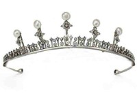 Brithday Tiara Natural Certified Diamond Pearl 5.5 Ct Sterling Silver Brithday Tiara