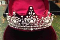 Princess Tiaras And Crowns Natural Certified Diamond Pearl 9.85 Ct Sterling Silver Victorian Reproduction