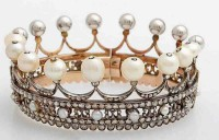 Princess Tiara And Crown Natural Certified Diamond Pearl 19.25 Ct Sterling Silver Headband