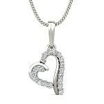 Heart Pendant Necklace 0.19 ct Diamond Velentines Solid Gold Natural Certified