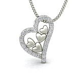 Heart Necklace Pendant Love 0.16 ct diamond Velentine Gift Gold Natural Certified