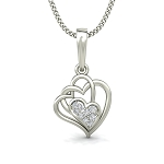Heart Necklaces  0.05 ct Diamond Love Pendant Gold Natural Certified
