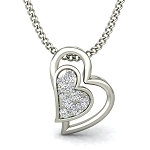 Fine Diamond Heart Pendant Heart Love 0.06 ct Solid Gold Natural Certified