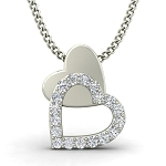 Diamond Heart Pendant 0.13 ct Solid Gold Love Necklace Natural Certified