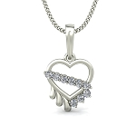 Heart Pendant Necklace 0.17 ct Diamond Solid Gold Natural Certified