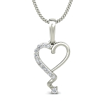 Heart Necklace 0.08 ct Diamond Valentine Gift Solid Gold Natural Certified