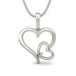 Heart Pendant Necklace 0.02 ct diamond Solid Gold Natural Certified