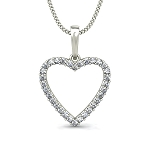 Heart Necklace Pendant 0.32 ct Solid Gold Natural Certified