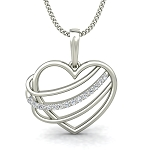 Heart Diamond Pendants 0.08 ct Solid Gold Natural Certified