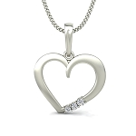Fine Diamond Heart Pendant 0.06 ct Solid Gold Natural Certified