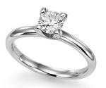 Solitaire Diamond Ring 0.10 Ct Round Shape Sterling Silver Engagement Anniversary