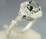 Enhanced Black Diamond Ring 1.64 Ct Black & White Diamond Round Shape Sterling Silver Solitaire