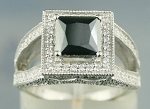 Artistry Black Diamond Ring 3.20 Ct Black & White Diamond Princess Shape Sterling Silver Solitaire