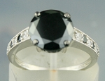 Black diamonds Ring 3.02 Ct Black & White Diamond Round Shape Sterling Silver Solitaire