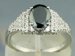 Black Diamond Engagement Rings 1.38 Ct Black & White Diamond Oval Shape Sterling Silver Solitaire