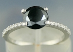 Cheap Black Diamond Engagement Rings 1.67 Ct Black & White Diamond Round Shape Sterling Silver Solitaire