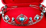 Tiara For Sale 23.00 Carat Natural Rose Cut Certified Diamond Turquoise Sterling Silver Bridal Headpieces