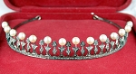 Bridal Hair Accessories 18.50 Carat Natural Rose Cut Certified Diamond Pearl Sterling Silver Headband