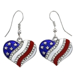 Cubic Zirconia 925 Sterling Silver Heart American Flag With Red Blue Enamel Earrings