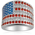 Cubic Zirconia 925 Sterling Silver Heart American Flag With Red Blue Enamel Ring