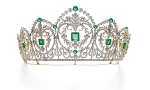 Wedding Tiaras 40.00 Carat Natural Certified Diamond Emerald Yellow Gold Bridal