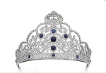 Queen Crown 22.50 Ct Natural Certified Diamond Iolite 14K White Gold Bridal Hair Accessories