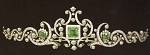 Queen Crown Natural Certified Diamond Emerald Pearl 3.50 Ct 14k Gold Head Pieces