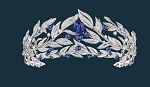 Gold Tiara 20.10 Ct Natural Certified Diamond Iolite Bridal Hair Accessories