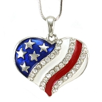Cubic Zirconia 925 Sterling Silver Heart American Flag With Red Blue Enamel Pendant