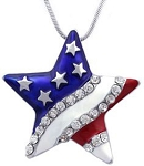 Cubic Zirconia 925 Sterling Silver Star American Flag With Red Blue Enamel Pendant