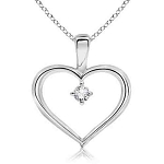 Heart Pendants 0.05 Ct Diamond valentine heart shape Natural Certified