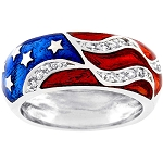 Cubic Zirconia 925 Sterling Silver American Flag With Red Blue Enamel Ring