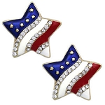 Cubic Zirconia 925 Sterling Silver Star American Flag With Red Blue Enamel Earrings