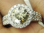 Color Diamond Engagement Rings 1.64 Ct Center 1.32 Ct. Fancy Brownish Yellow Solid Gold Natural Certified