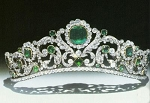 Gold Tiara 43.50 Ct Natural Certified Diamond Emerald Bridal Hair Accessories