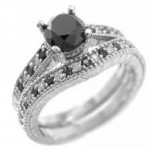 Enhanced Black Diamond 3.25 Ct Solitaire Engagement Rings Solid Gold