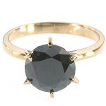 Black diamond Wedding Rings 2.45 Carat Solitaire wz Accent For Anniversary Solid Gold