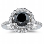 Artistry Black Diamond 2.25 Carat Solitaire Ring wz Accent Solid Gold