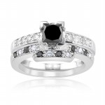 Black Diamond 3.25 Ct Solitaire Diamond Ring Princess Cut Solid Gold