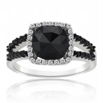 Black diamond Ring 3.75 Carat Solitaire Diamond wz Accent Solid Gold