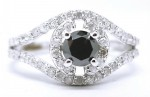 Black Diamond 1.66 Carat Solitaire Black Diamond Ring Solid Gold