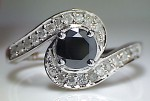 Black Diamond 1.98 Carat Diamond Engagement Rings Solitaire Solid Gold