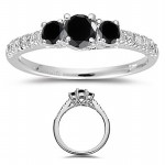 Enhanced Black Diamond 2.80 Carat Solitaire Black Diamond Ring Solid Gold