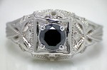 Black Stone 1.46 Carat Black Solitaire Diamond Ring wz Accent Solid Gold