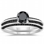 Cheap Black Diamond 4.00 Carat Engagement Rings Solitaire Solid Gold