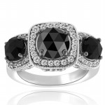 Black Diamond 3.45 Carat Solitaire Black Diamond Ring Solid Gold