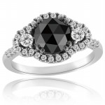 Black diamond Ring 2.12 Carat Solitaire With Accents Wedding Anniversary Solid Gold